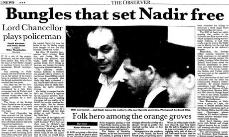 Observer story on Asil Nadir/ Polly Peck 9 May 1993