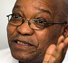 South African president Jacob Zuma gives