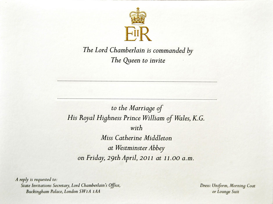 Royal wedding the prince william and kate middleton guest list as royal wedding invite view larger picture stopboris