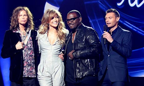 New American Idol judges Steven Tyler and Jennifer Lopez with Randy Jackson and Ryan Seacrest
