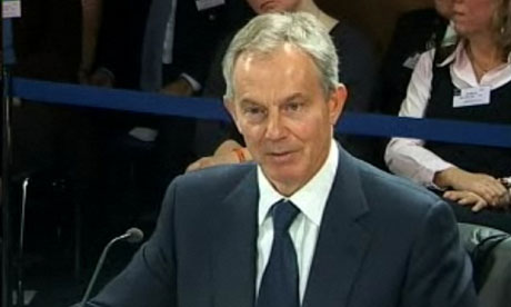 Tony Blair at the Chilcot inquiry on 21 January 2011.