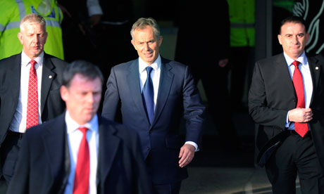 Tony Blair leaves the Chilcot inquiry on 21 January 2011.