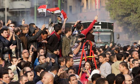 Egyptians protest in central Cairo, Egypt, on 25 January 2011.