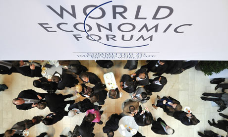 Participants have lunch on the opening day of the World Economic Forum annual meeting in Davos