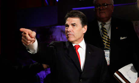 Texas governor Rick Perry prepares for a Republican presidential candidates' debate
