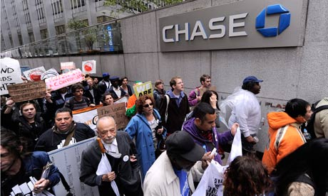 Occupy Wall Street protesters outside the Chase bank in New York's financial district