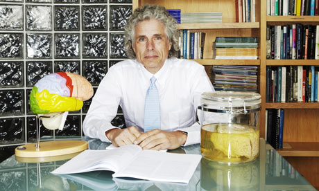 Steven Pinker photographed in his office at Harvard University