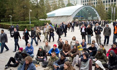 Occupy London protesters staging a 'teach-in' at Canary Wharf, London, on 27 October 2011.