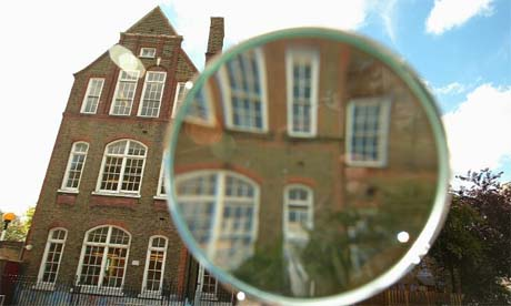 School under a magnifying glass