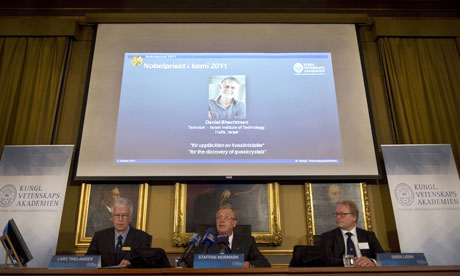 Members of the Swedish Royal Academy of Sciences announce the 2011 chemistry Nobel