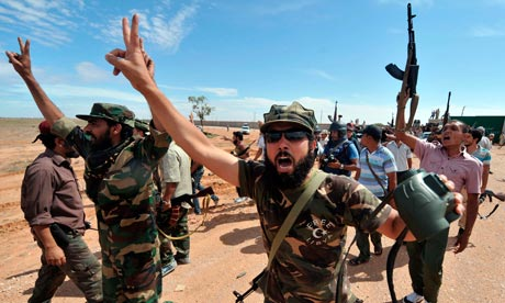 Libyan rebel fighters in Sirte