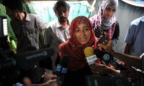 Yemeni human rights activist Tawakul Karman speaks to reporters