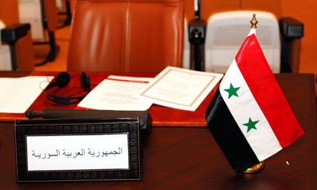 The empty chair of the Syrian delegate is seen at the Arab League foreign ministers meeting in Rabat