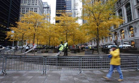 Zuccotti Park is almost empty, a day after the Occupy Wall Street camp was evicted