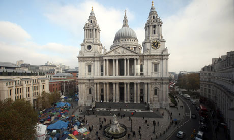 Occupy London protesters outside St Paul's Cathedral on 16 November 2011