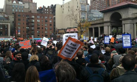 Hundreds of students gather at Union Square, New York, in support of Occupy Wall Street