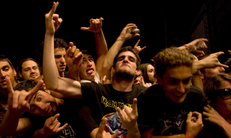 Fans watching Iron Maiden performing in Lisbon