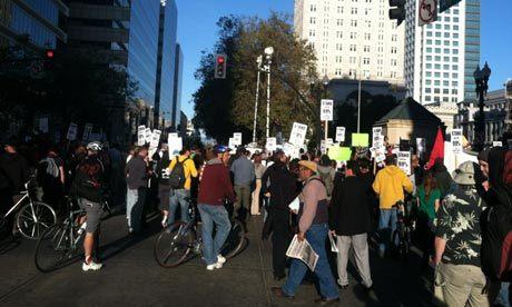 Occupy Oakland protesters march in the Californian city