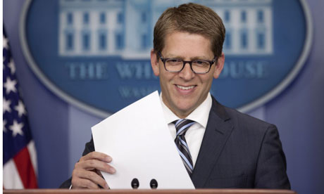 White House press secretary Jay Carney at his daily news briefing at the White House in Washington.