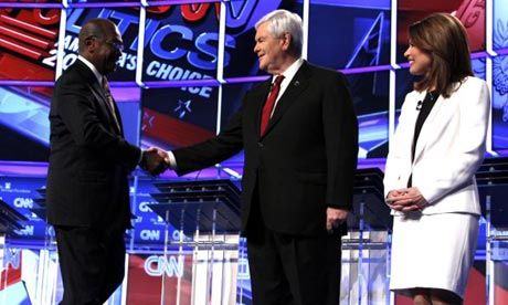 Republican presidential candidates Herman Cain, Newt Gingrich and Michele Bachmann