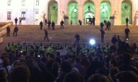 Scene outside Portugal's National Assembly in Lisbon