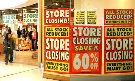 Shops are hard hit by recession.