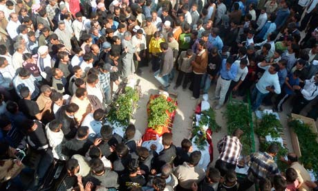 Funeral of 11 people killed near Homs