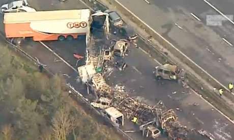 Stills taken from Channel 4 footage showing the destruction from the M5 crash