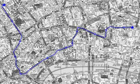 Route of student protest march, 9 November 2011