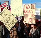 Students protest in central London against an increase in university tuition fees in November 2010.