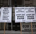 Placards outside the University of London Union building on 9 November 2011.