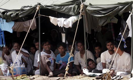 Rohingya refugees in an encampment at a military base in Indonesia in 2009