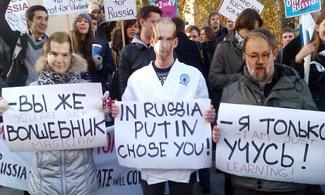 Masked Russian protesters in London