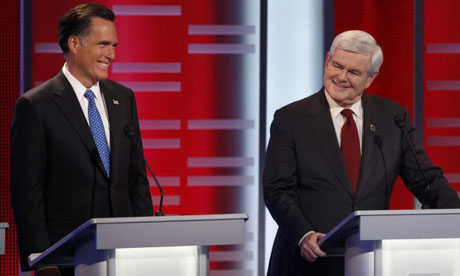 Republican nomination candidates Mitt Romney and Newt Gingrich at the Iowa presidential debate