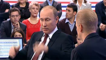 Vladimir Putin answers questions from Russian public