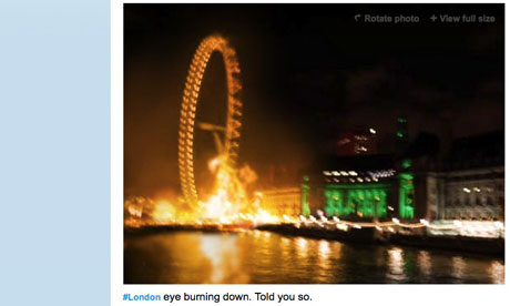 A fake photograph appearing to show the London Eye burning down circulated on Twitter during riots