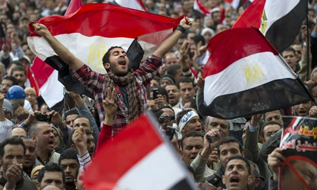 Protesters in Tahrir Square as speculation mounts that Egyptian president Hosni Mubarak may resign