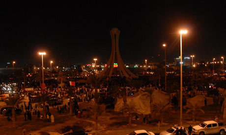 Protesters in Pearl Square, Bahrain