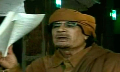 Screen grab of Muammat Gaddafi speech
