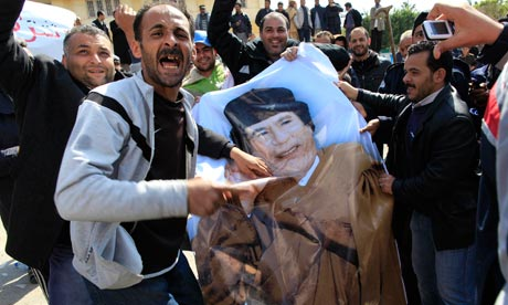 Anti-Gaddafi protesters in Libya