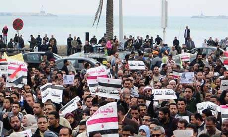 Egyptian protestors in Alexandria, Egypt, on 3 February 2011.