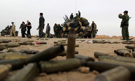 Empty cartridges left near Libyan government soldiers at the west gate of Ajdabiya