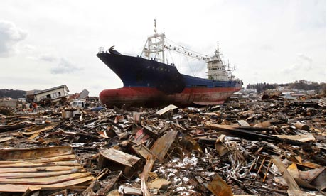 A ship brought in by the tsunami