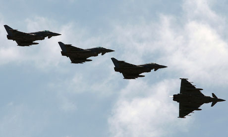 Italian Air Force Eurofighter EF-2000 Typhoons fly over the Birgi NATO Airbase in Trapani, Sicily