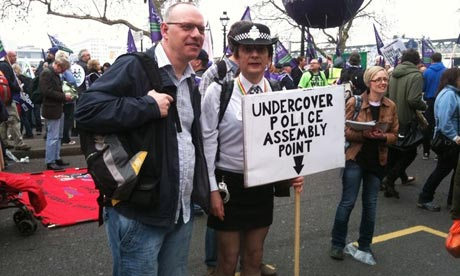 Undercover police assembly point on the anti-cuts march in London