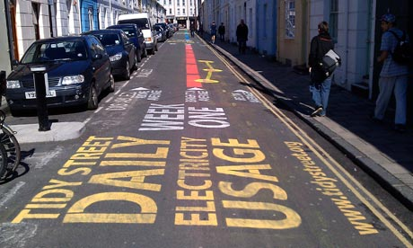 Electricity usage markings on the road in Tidy street