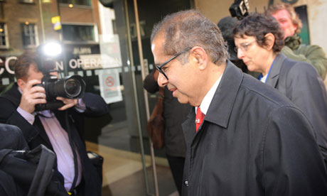 Pathologist Dr Freddy Patel arrives to give evidence to the Ian Tomlinson inquest on 12 April 2011.