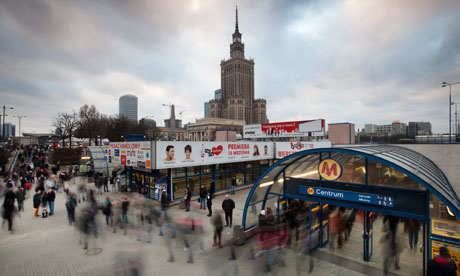 Commuters and shoppers near Centrum Metro station in central Warsaw