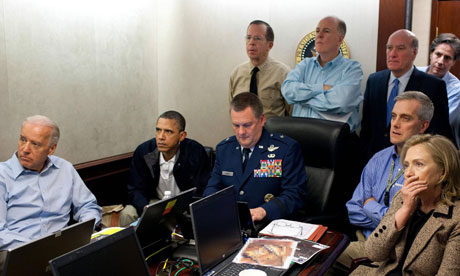 Barack Obama along with members of the national security team