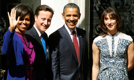 Barack and Michelle Obama with David Cameron and Samantha Cameron outside 10 Downing Street